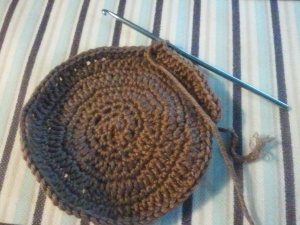 Crochet hat partially finished
