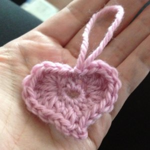 Crochet heart with loop for hanging